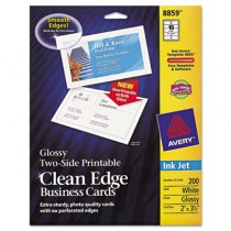 Two-Sided Printable Clean Edge Business Cards, 2 x 3 1/2, Glossy White