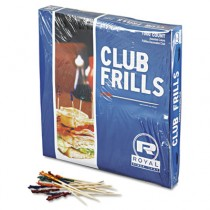 """Club Cellophane-Frill Wood Picks, 4"""", Assorted"""