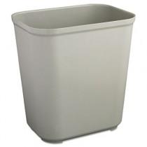 Fire-Res. Wastebasket, Rectangular, Fiberglass, 7 gal, Gray