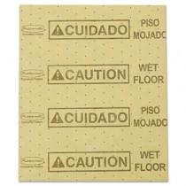 "Over-the-Spill Pads, Polypropylene, ""Caution Wet Floor,"" Yellow, 16-1/2""W x 20""L"
