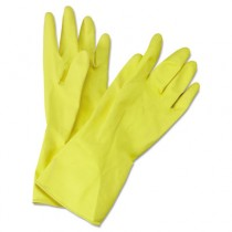 Flock-Lined Latex Cleaning Gloves, Medium, Yellow