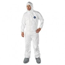 Tyvek Elastic-Cuff Hooded Coveralls With Attached Boots, White, Size 2X-Large