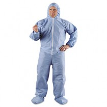 KLEENGUARD A65 Hood & Boot Flame-Resistant Coveralls, Blue, 4XL