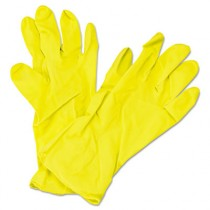 Flock Lined Latex Gloves, Yellow, 12 in Length, Medium