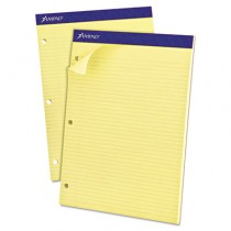 Evidence Dual Rule Narrow/Margin Pad, 8-1/2 x 11-3/4, Canary, 100 Sheets