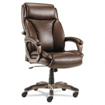 Veon Series Executive High-Back Leather Chair, w/ Coil Spring Cushioning, Brown