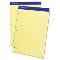 Evidence Dual Ruled Pad, Legal/Wide Rule, 8-1/2 x 11-3/4, Canary, 100 Sheets