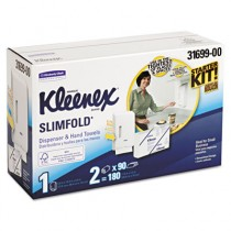 KLEENEX SLIMFOLD Hand Towel Dispenser Starter Kit, 14.93x13.13x8.5, White