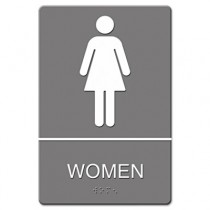 ADA Sign, Women's Restroom w/Tactile Graphic, Plastic, 6 x 9, Gray