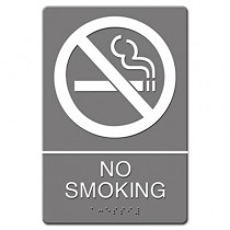 ADA Sign, No Smoking Symbol w/Tactile Graphic, Molded Plastic, 6 x 9, Gray