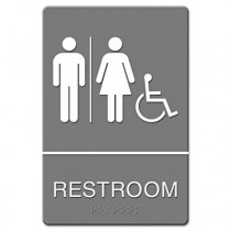 ADA Sign, Restroom/Wheelchair Accessible Tactile Symbol, Plastic, 6x9,Gray/White
