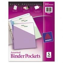 Ring Binder Polypropylene Pockets, 8-1/2 x 11, Assorted Colors, 5 Pockets/Pack