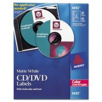 Laser CD/DVD Labels, Matte White, 30/Pack