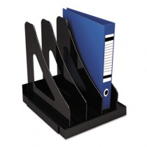 Vertical Add-On Sorter, Plastic, 3 Compartments, Black
