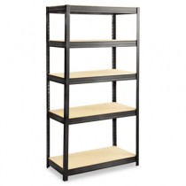 Boltless Steel/Particleboard Shelving, 5 Shelves, 36w x 18d x 72h, Black