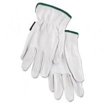 Grain Goatskin Driver Gloves, White, Medium