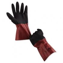 AlphaTec Chemical-Resistant Gloves, Size 10, Nitrile/Knit, Burgundy/Black