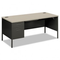 Metro Classic Left Pedestal Workstation Desk, 66w x 30d, Gray Patterned/Charcoal