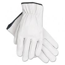 Grain Goatskin Driver Gloves, White, Extra-Large