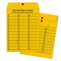 Brown Kraft String & Button Box-Style Interoffice Envelope, 10 x 13, 100/Box