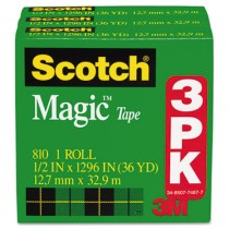 "Magic Tape Refill, 1/2"" x 1296"", 3/Pack"