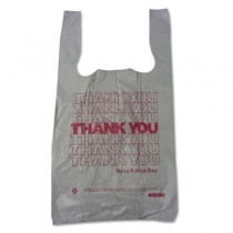Thank You High-Density Shopping Bags, 10w x 5d x 19h, White