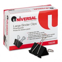 """Large Binder Clips, Steel Wire, 1"""" Capacity, 2"""" Wide, Black/Silver"""