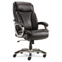 Veon Series Executive High-Back Leather Chair, w/ Coil Spring Cushioning, Black