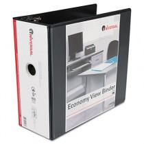 "Economy D-Ring Vinyl View Binder, 5"" Capacity, Black"