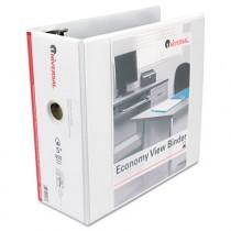 "Economy D-Ring Vinyl View Binder, 5"" Capacity, White"