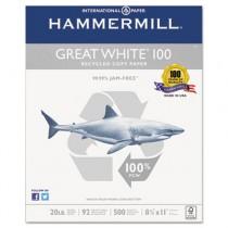 Great White 100 Recycled Copy Paper, 20lb, 8-1/2 x 11, White, 5,000 Sheet/Carton
