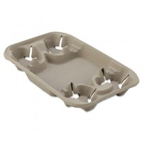 StrongHolder Molded Fiber Cup/Food Tray, 8-22oz, Four Cups