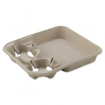 StrongHolder Molded Fiber Cup Tray, 8-22oz, Two Cups