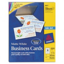 Inkjet Matte Business Cards, 2 x 3 1/2, White, 10/Sheet, 1000/Box