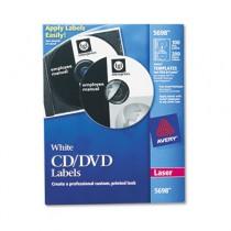 Laser CD/DVD Labels, Matte White, 100/Pack