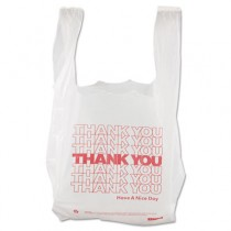 Thank You High-Density Shopping Bags, 8w x 4d x 16h, White