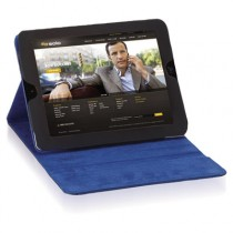 Tablet Case, For iPad 2 and 3, Black Vinyl, Blue Microsuede Lining, Snap Closure
