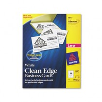 Clean Edge Laser Business Cards, 2 x 3 1/2, White, 10/Sheet, 200/Pack