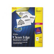 Clean Edge Laser Business Cards, 2 x 3 1/2, White, 10/Sheet, 400/Box