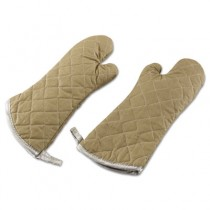 "Flameguard Oven Mitt, 17"", One Size Fits All, Terrycloth, Tan"