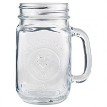 Glass Drinking Jar, 16 1/2 Ounces, Clear