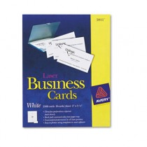 Laser Business Cards, 2 x 3 1/2, White, 10 Cards/Sheet, 2500/Box