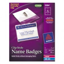 Badge Holders w/Laser/Inkjet Inserts, Top Load, 3 x 4, White