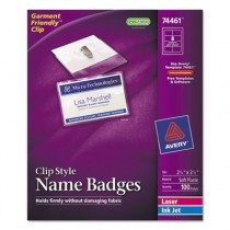 Badge Holders w/Laser/Inkjet Inserts, Top Load, 2 1/4 x 3 1/2, White, 100/Box