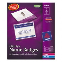 Badge Holders w/Laser/Inkjet Inserts, Top Loading, 3 x 4, White, 100/Box
