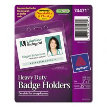 Heavy-Duty Badge Holders, Horizontal, 4w x 3h, Clear, 25/Pack