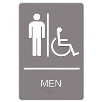 ADA Sign Men Restroom Wheelchair Accessible Symbol, Plastic, 6 x 9, Gray