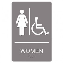 ADA Sign Women Restroom Wheelchair Accessible Symbol, Plastic, 6 x 9, Gray/White