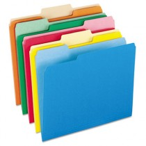 Two-Tone File Folders, 1/3 Cut Top Tab, Letter, Assorted Colors, 100/Box