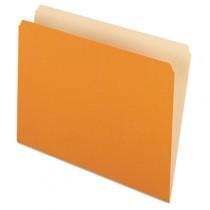 Two-Tone File Folders, Straight Top Tab, Letter, Orange/Light Orange, 100/Box